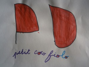 """Mot dessiné: """"Petit coco fiolo"""""""