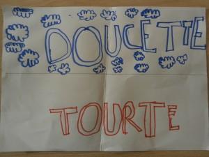 """Dessin de mots: """"doucette"""" et """"tourte"""""""