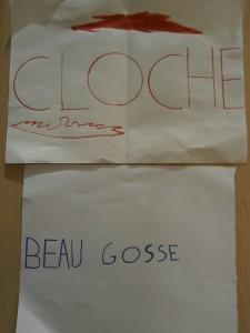 """Mots dessinés: """"Cloche"""" et """"Beau gosse"""""""